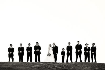 BW wedding groomsmen with hats