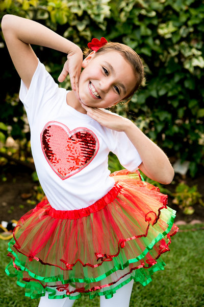 fun children's portraits red and green tutu