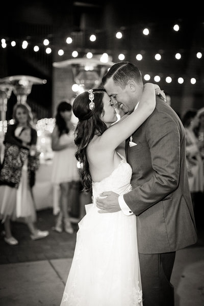 bride and groom first dance BW