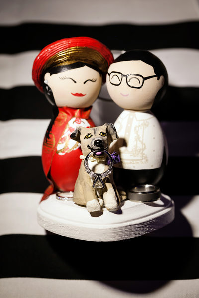 bride and groom cake topper dog wedding rings diamond