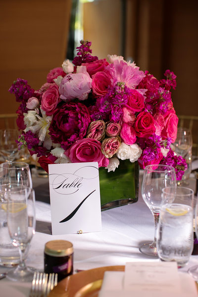 pink peony and roses flower centerpiece wedding