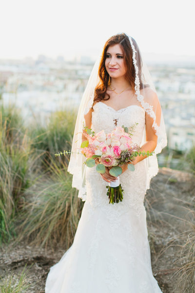 Los Angeles bride overlooking the city