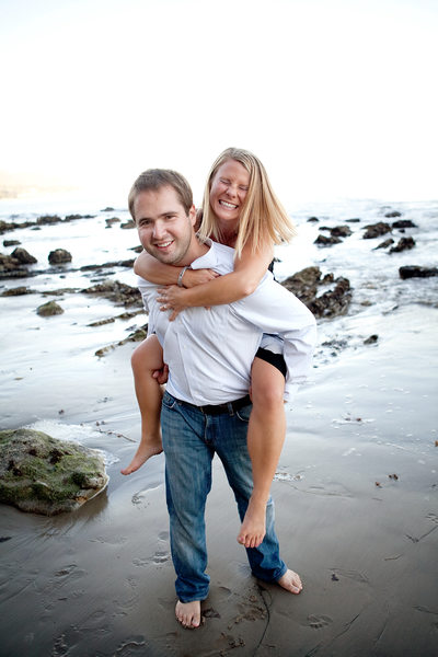 Malibu Beach engagement piggyback