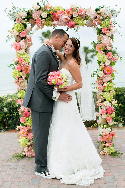 LBMA flower arch groom bride