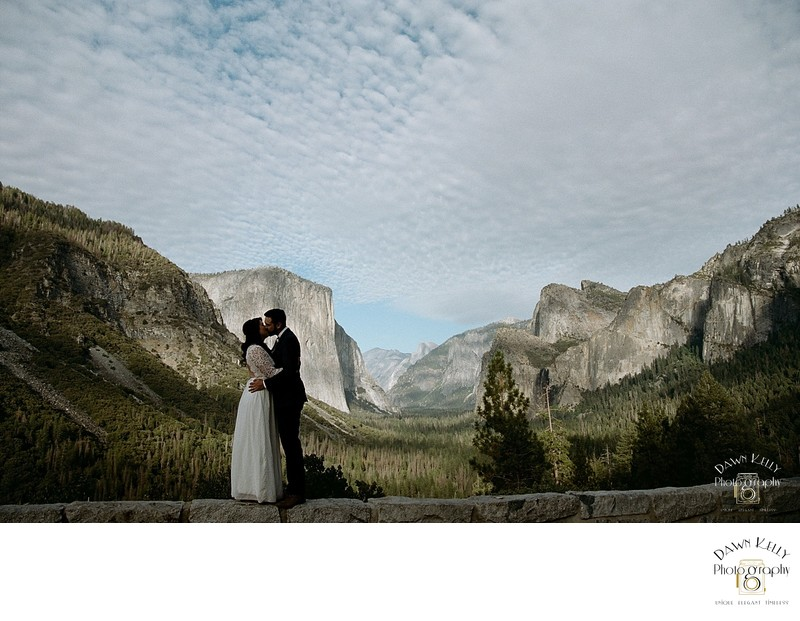Bride and groom at Tunnel View