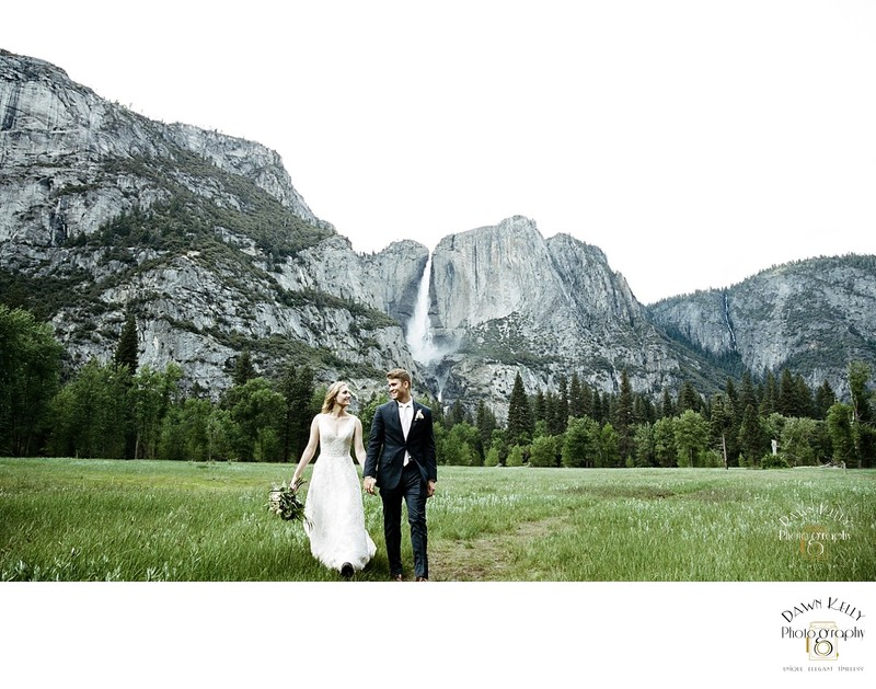 Yosemite elopement Swinging Bridge Yosemite Falls