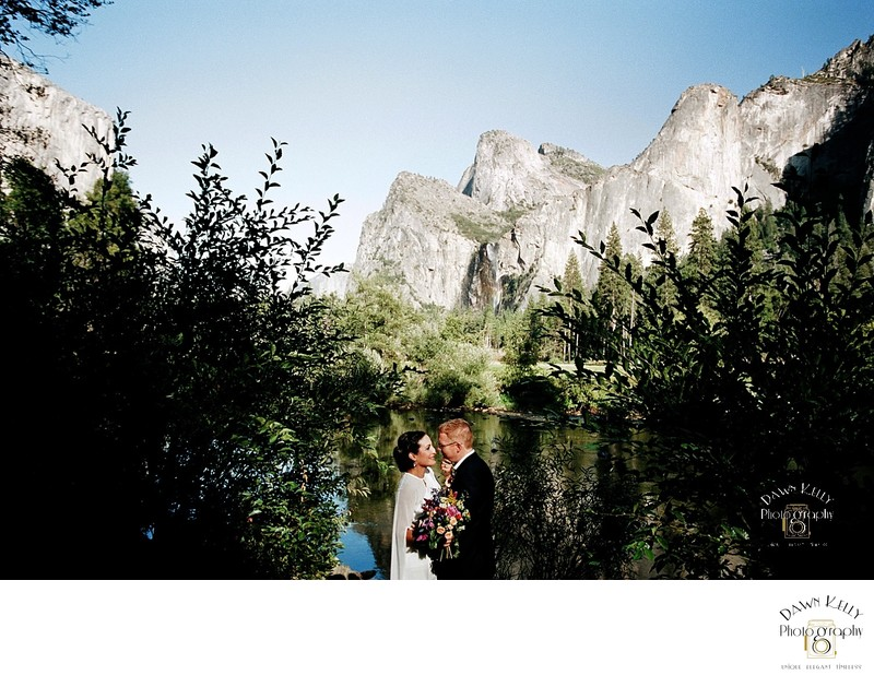 Bride and groom with Valley View Yosemite elopement