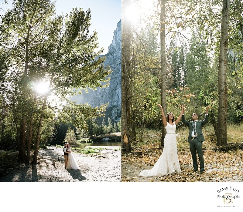 Bride and groom tossing fall leaves at Sentinel Beach Yosemite