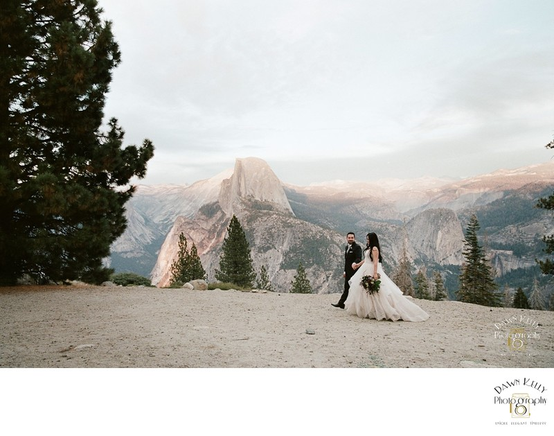 Glacier Point Yosemite elopement bride and groom