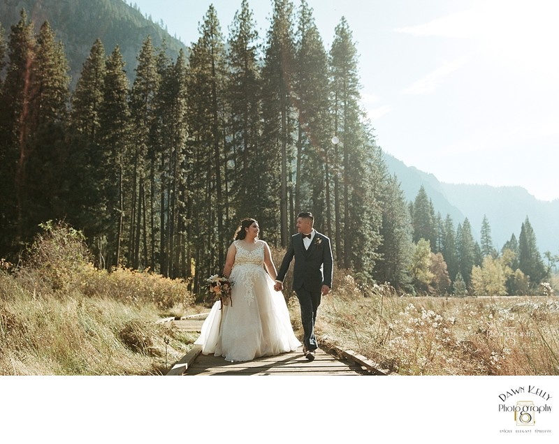 Bride and groom fall Yosemite elopement