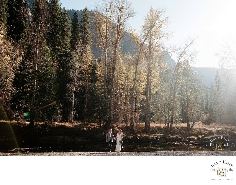 Mature couple elopement Swinging Bridge Yosemite