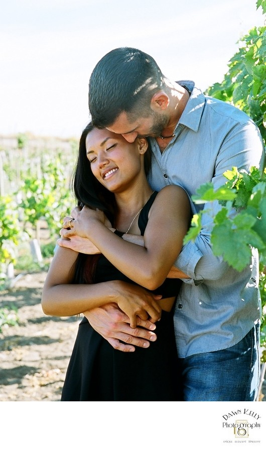 Winery engagement photo