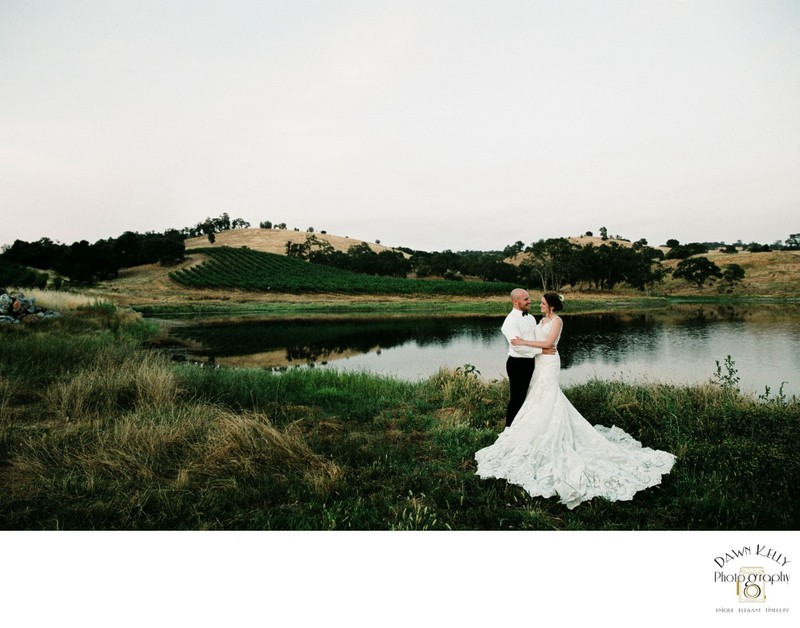 Bride and groom portrait at Rancho Victoria Vineyards