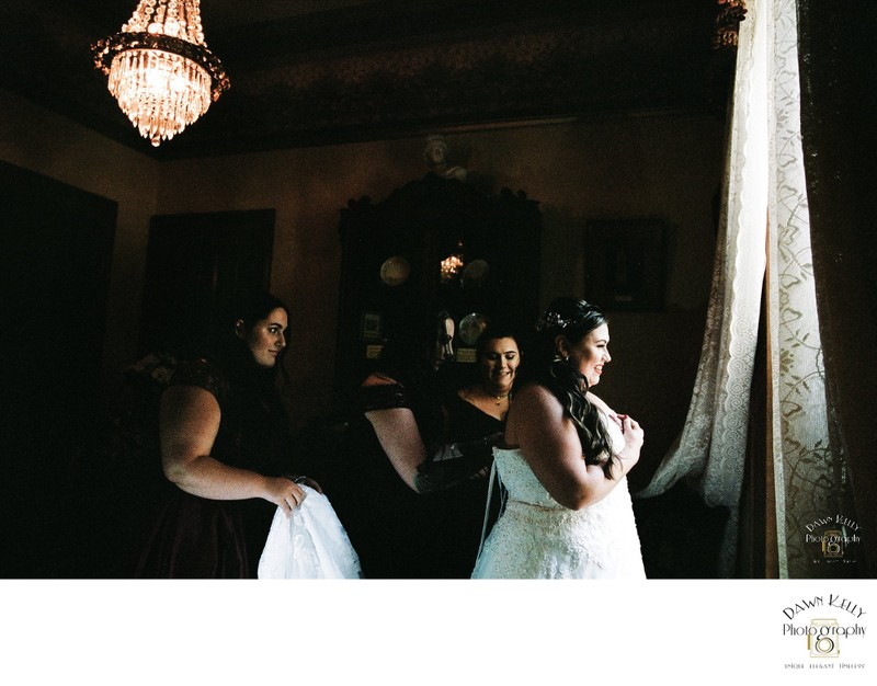 Bride and bridesmaids getting ready at McHenry Mansion