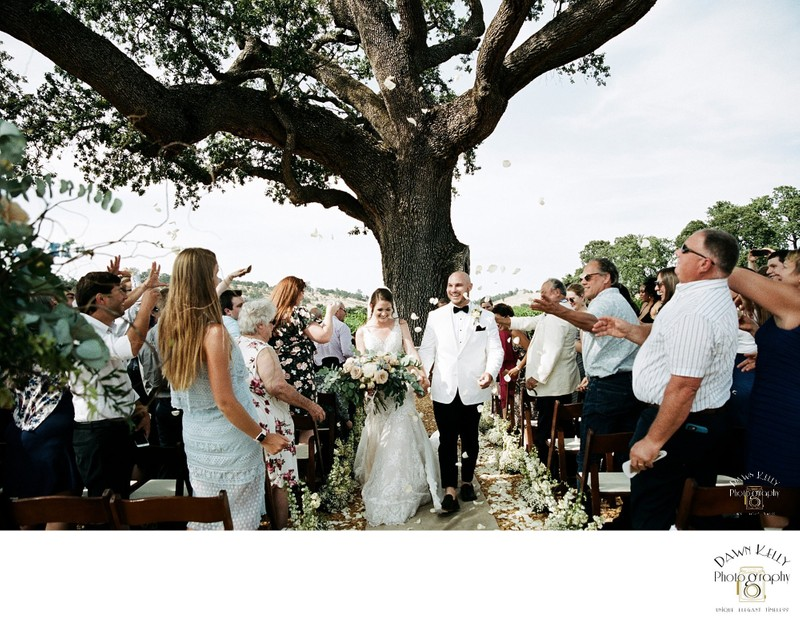 wedding ceremony recessional at Rancho Victoria Vineyard