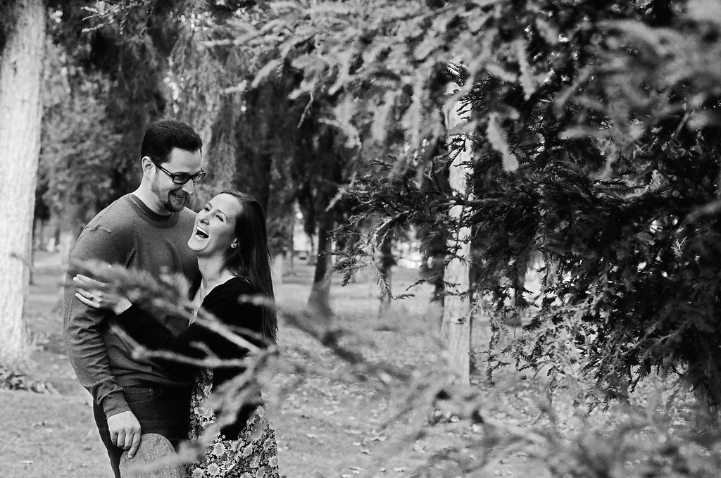 Engagement photo laughter