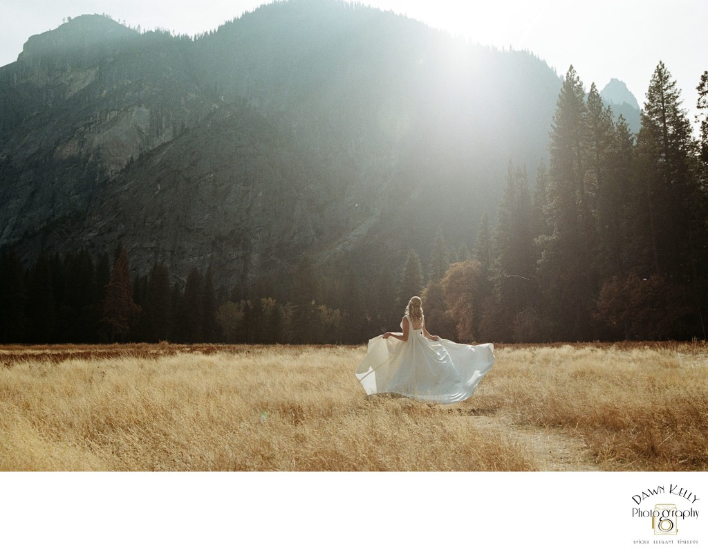 Bride spinning in Yosemite meadow