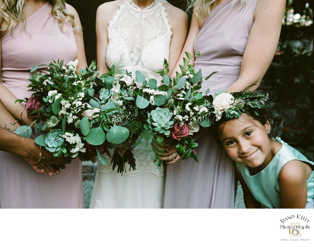 Bridal bouquets with flower girl