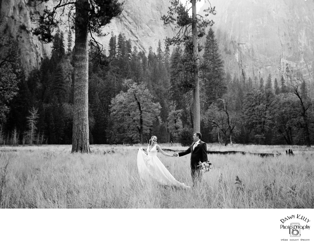 Bride and Groom walking through Yosemite meadow