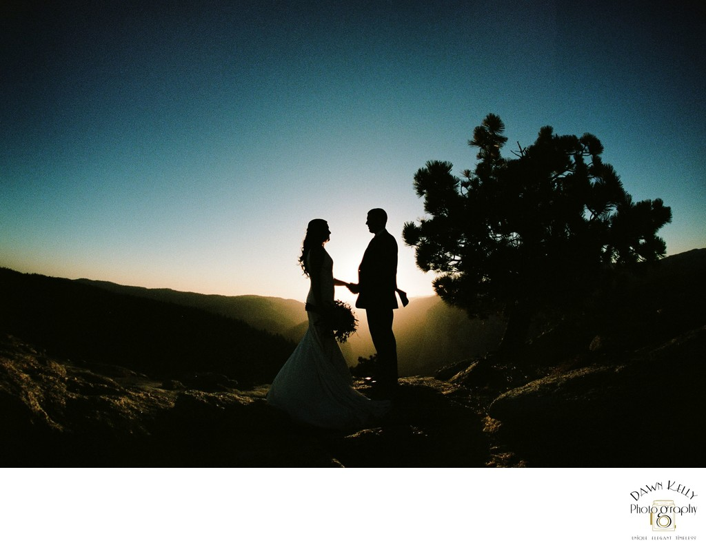 Yosemite bride and groom silhouette