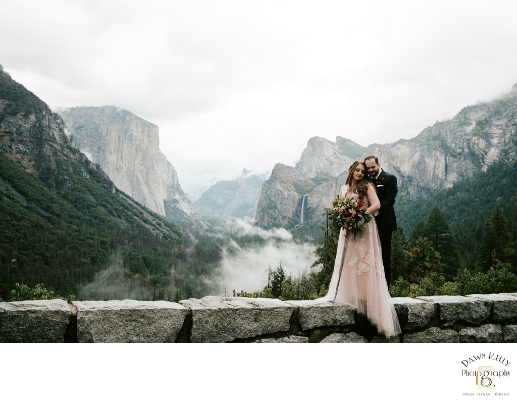 Bride and groom at Tunnel View Yosemite