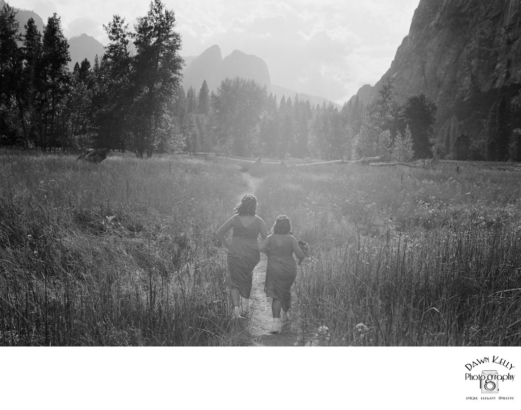 Yosemite elopement kids in meadow