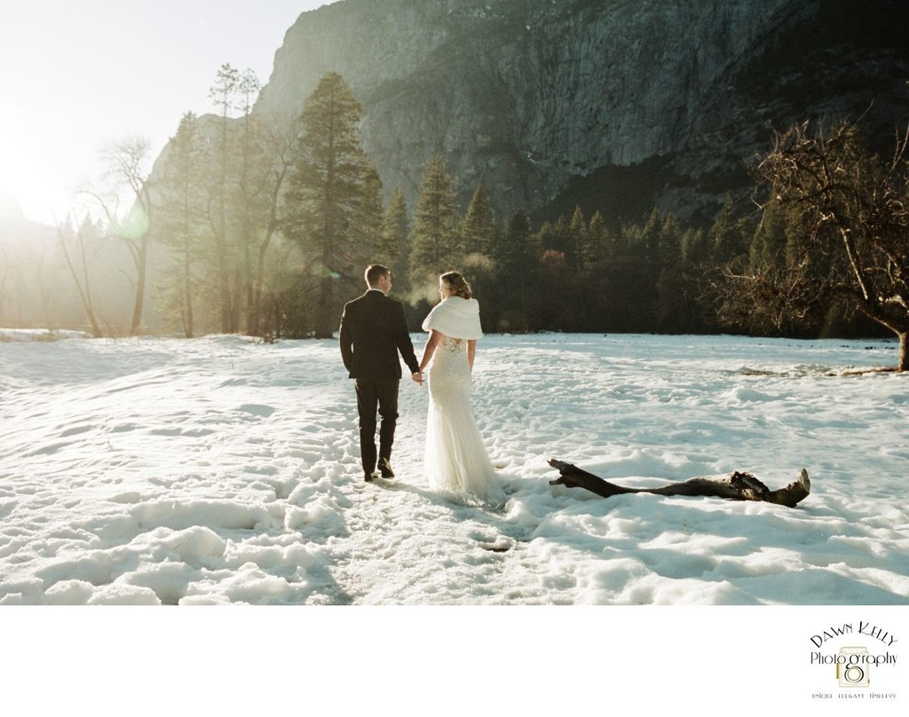 Bride and groom in snowy Yosemite