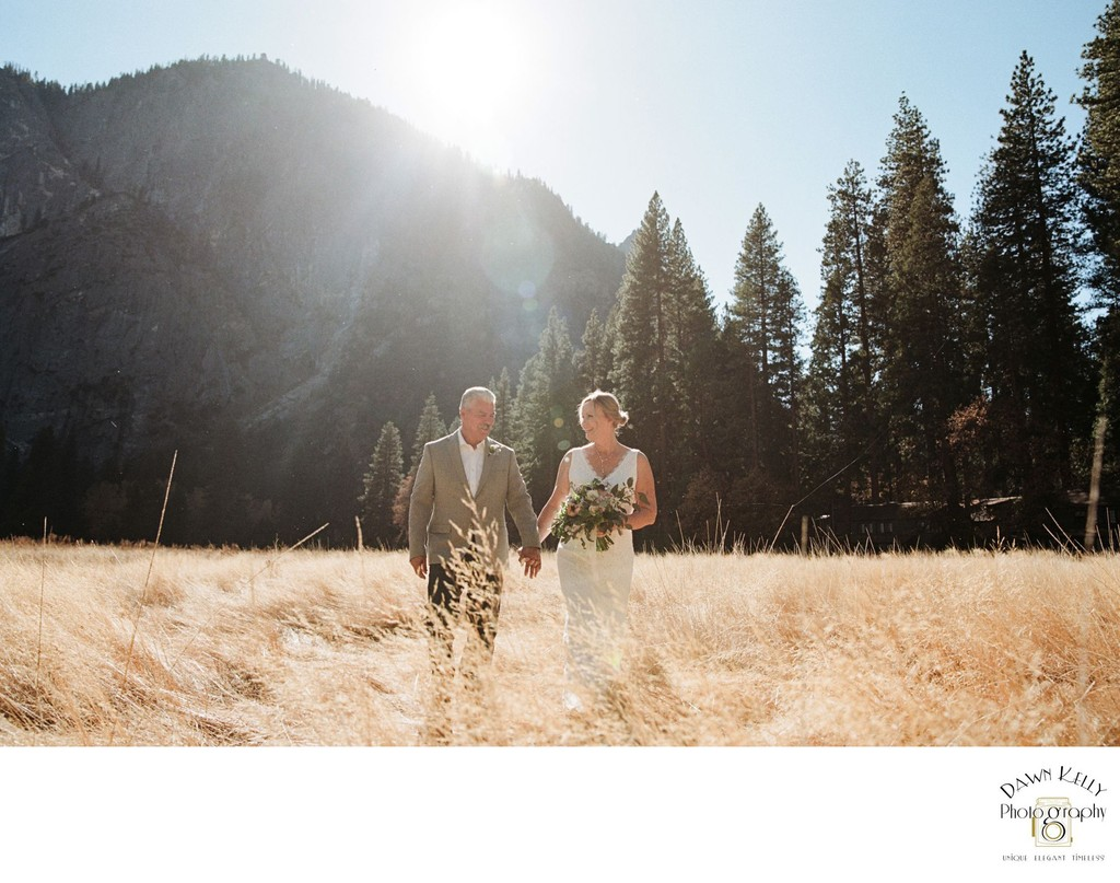 Mature couple Yosemite elopement