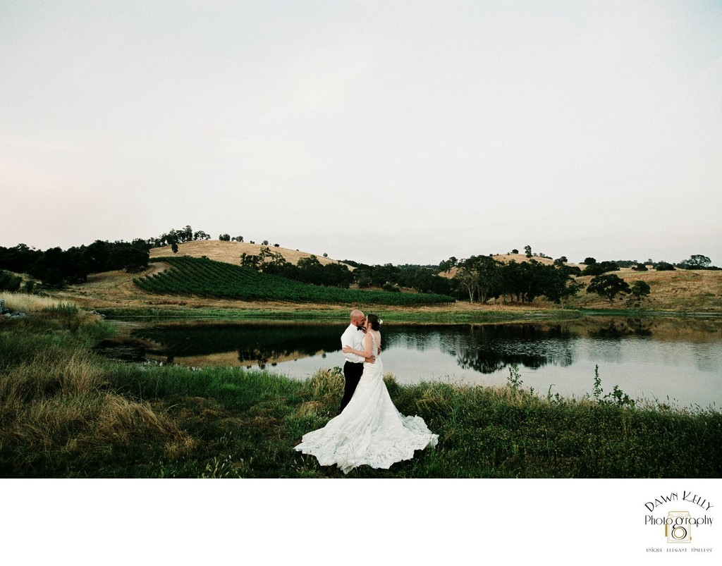 Bride and groom at Rancho Victoria Vineyards