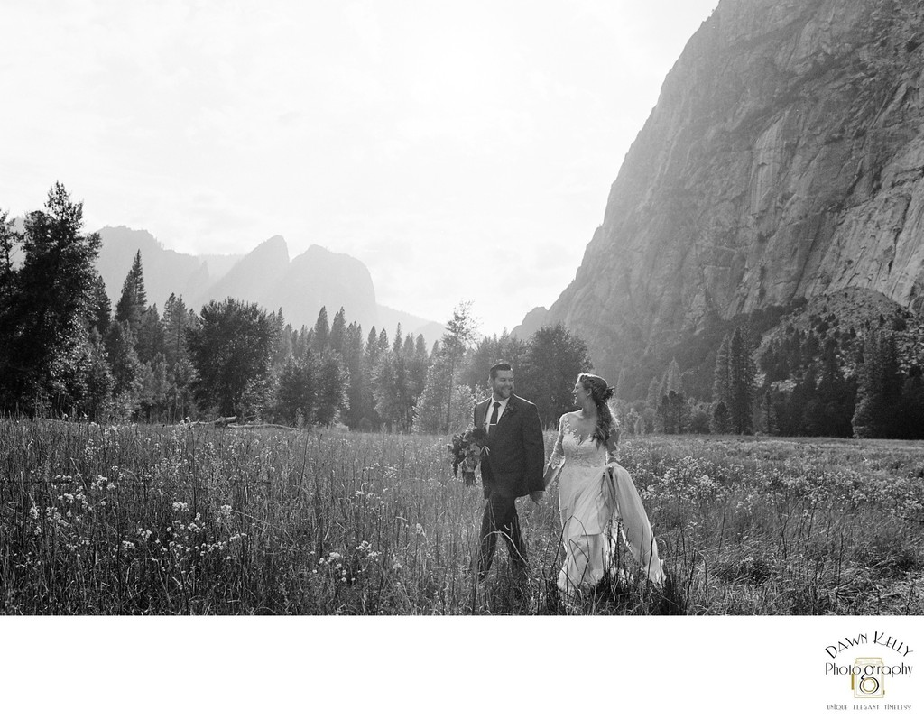 Yosemite elopement black and white in meadow