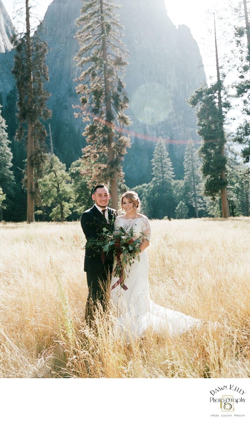 Yosemite elopement bride and groom portrait