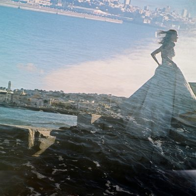 Double exposure of bride on the ocean at San Francisco