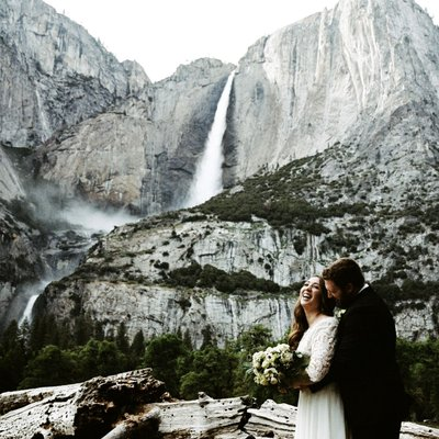 Bride and Groom with Yosemite Falls