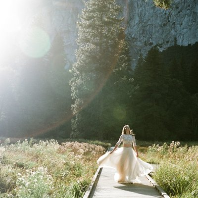 Yosemite Elopement Bride Spinning