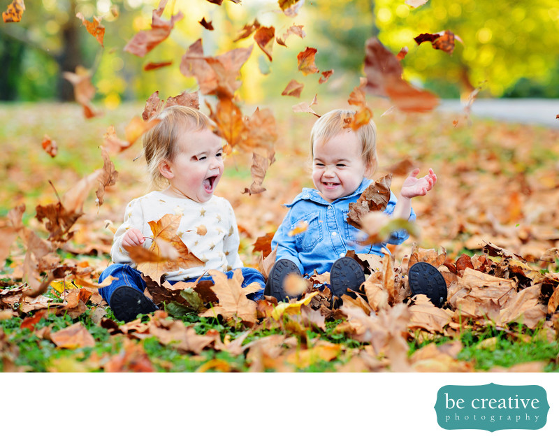 kids funny fall portraits leaves toddlers nj photos