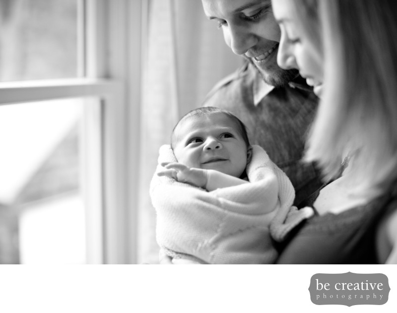 newborn family portrait home nj photographer black and white