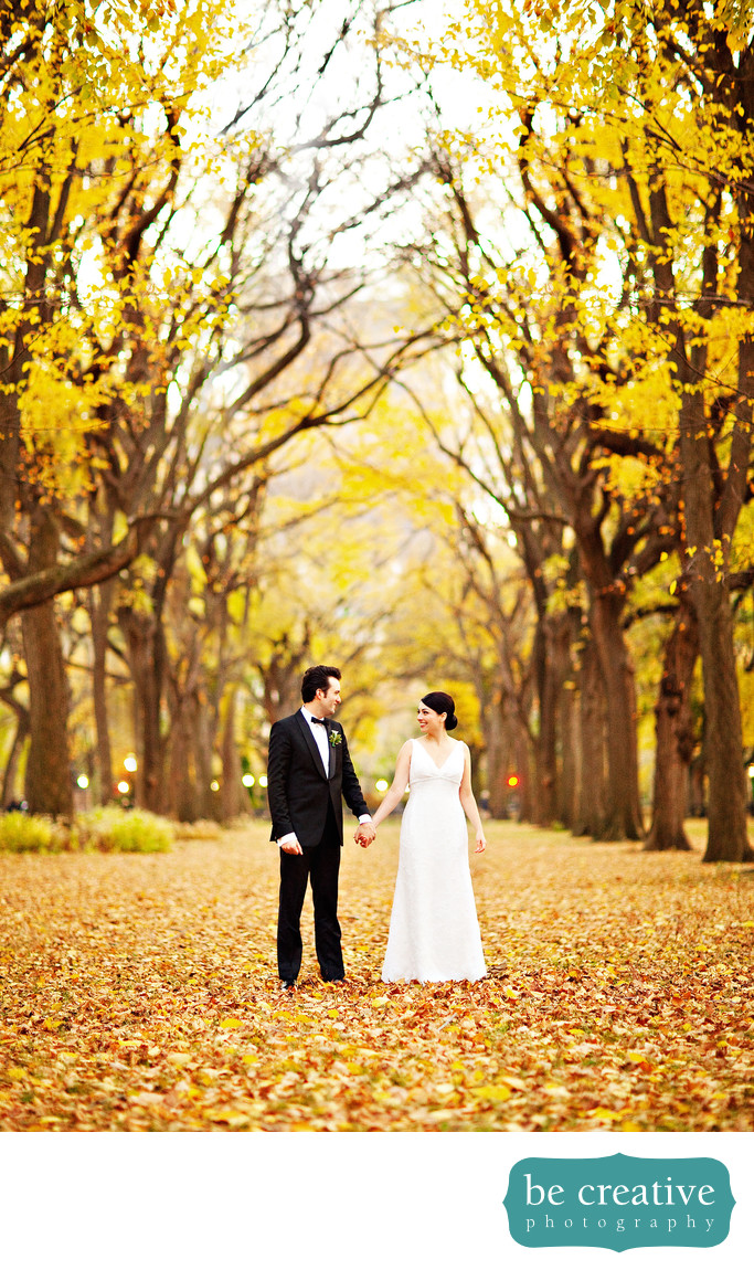 Central Park NYC Fall Bride and Groom Portrait