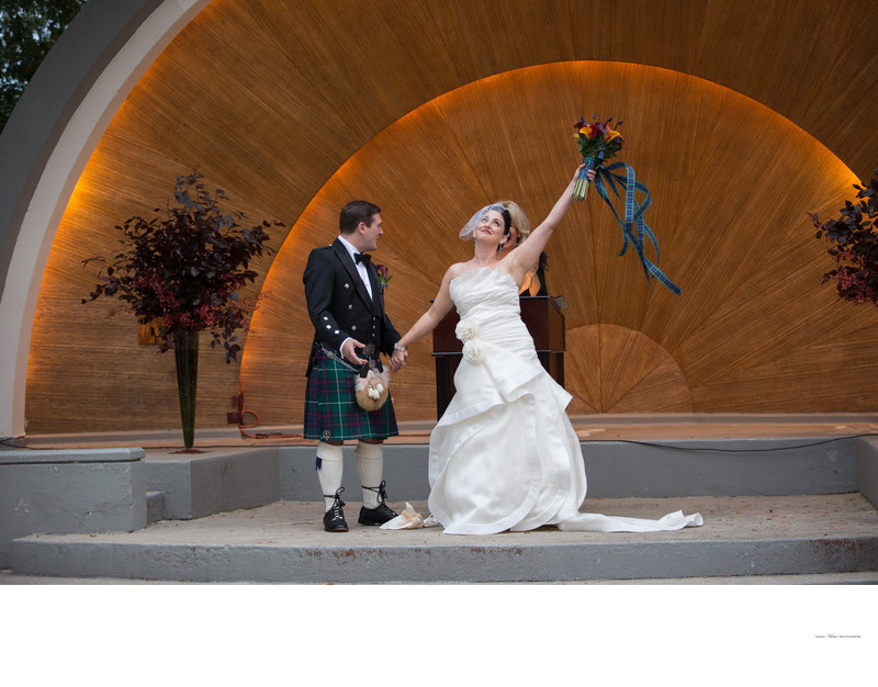 Wedding ceremony at Westchester Country Club band shell