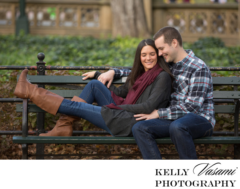 Park Bench in Central Park | Engagement Session