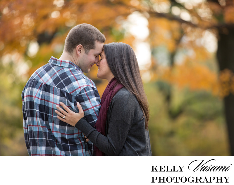Autumn Leaves Engagement Session in Central Park