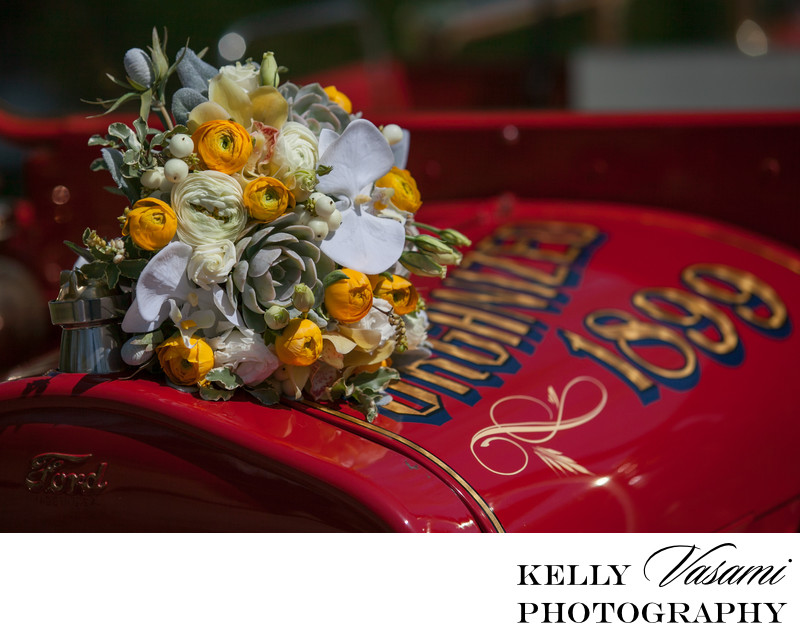 Antique Fire Engine Wedding Photos | Yellow Flowers