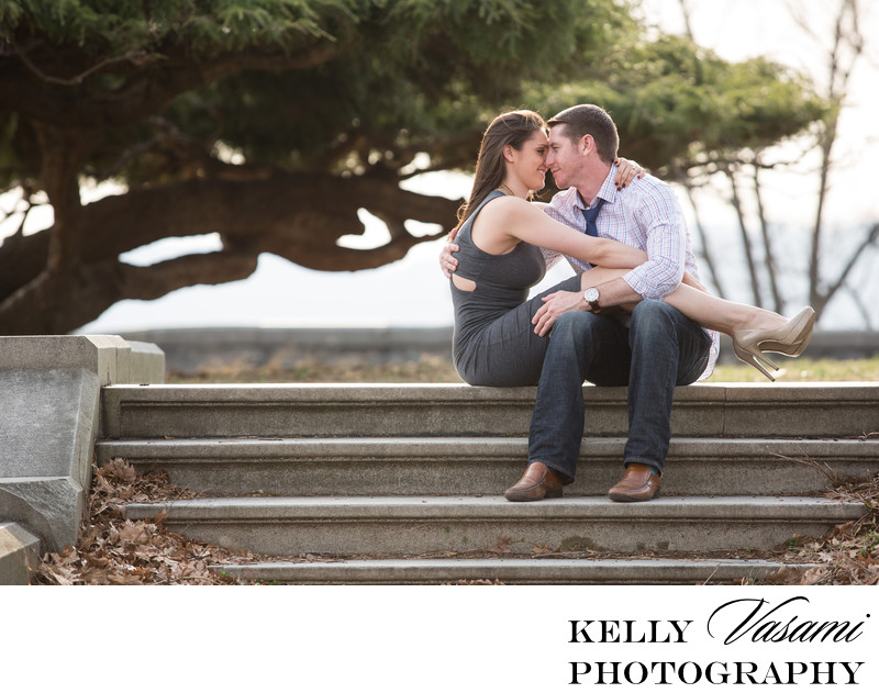 Couple Kissing on the Steps | Engagement Session