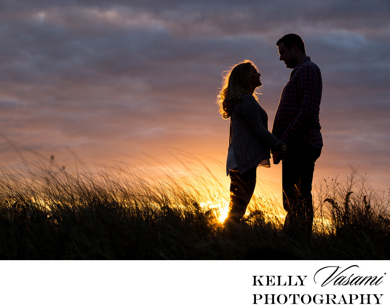 Sunset Silhouette Engagement Session on the Beach