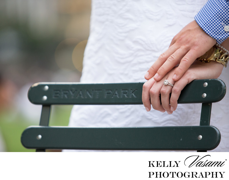 Bryant Park Engagement Session Ring Closeup