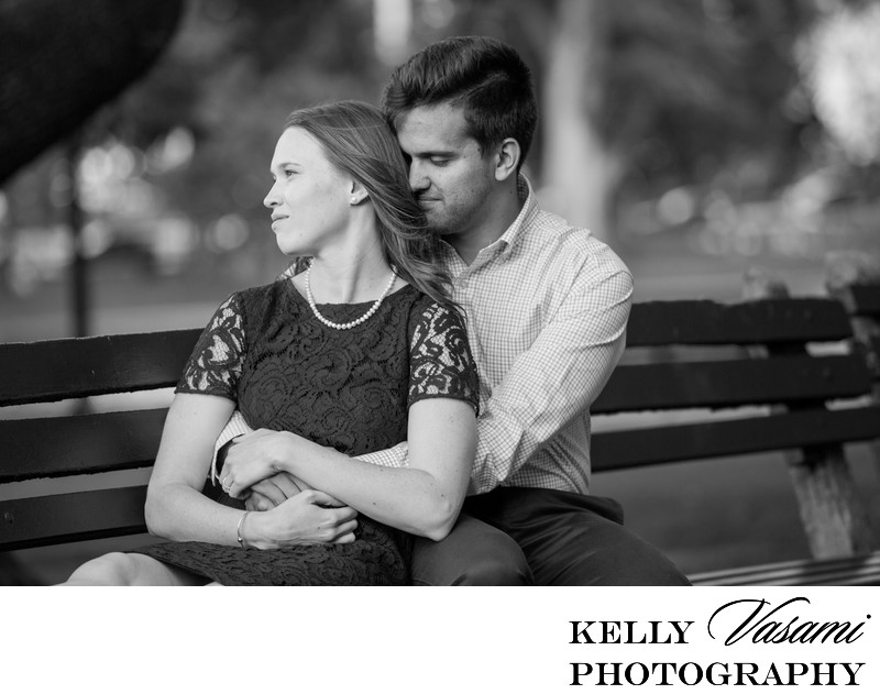 Boston Engagement Session on a park bench