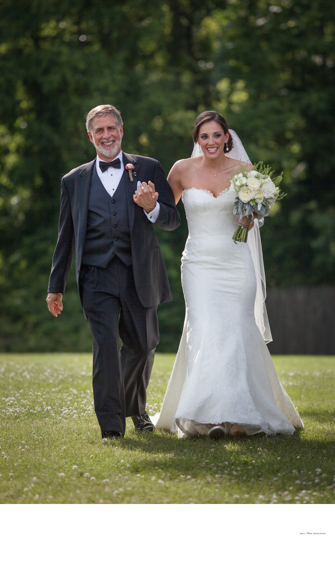 Dad Walking Bride Down Aisle | Outdoor Wedding Ceremony