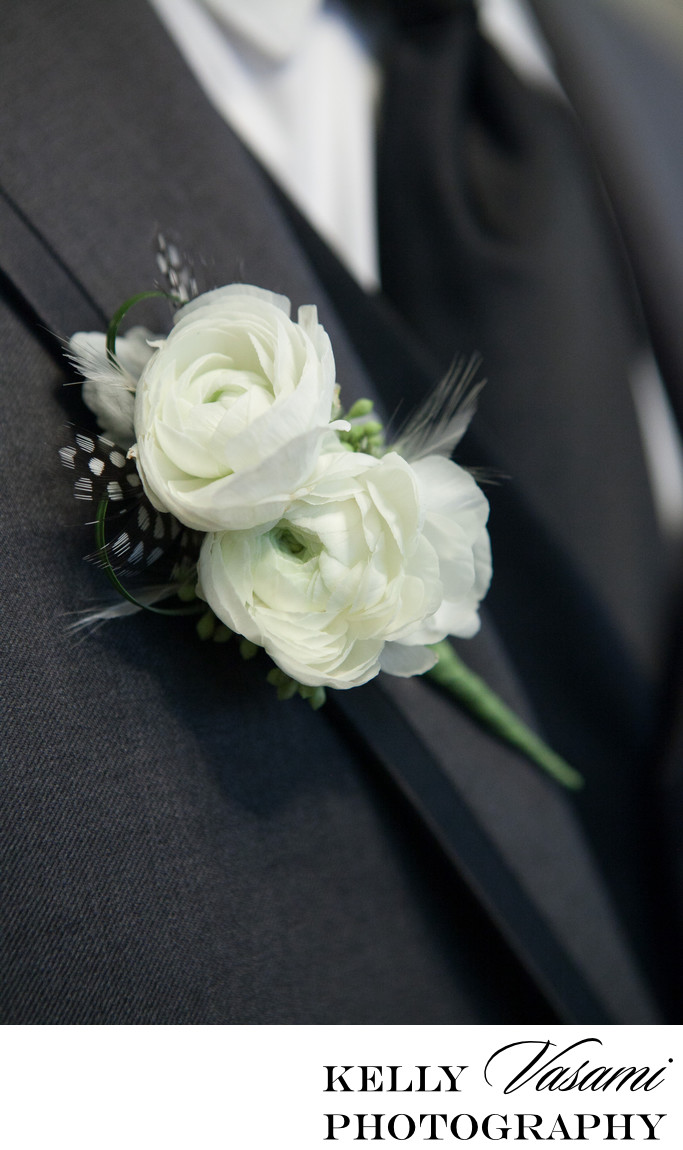 White Ranunculus Groom's Boutonniere | Westchester NY