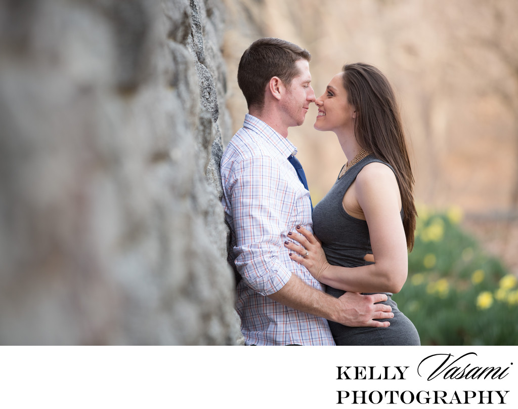 Westchester Engagement Session | stone wall and flowers