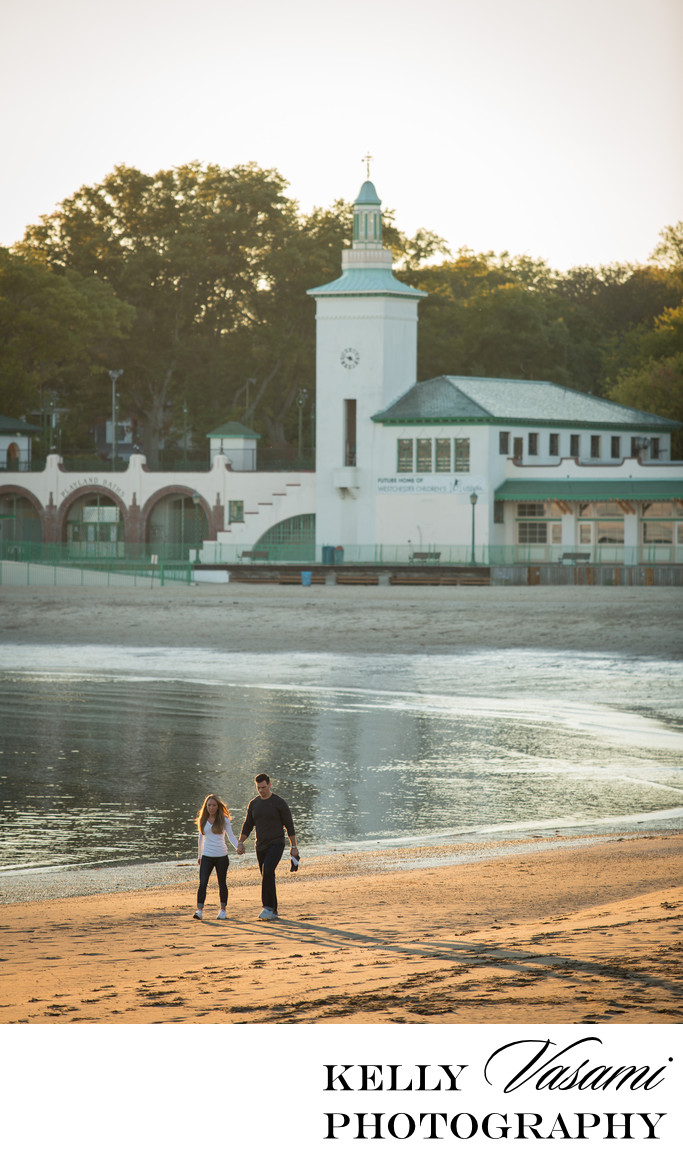 Rye Playland Engagement Session | Art Deco Building