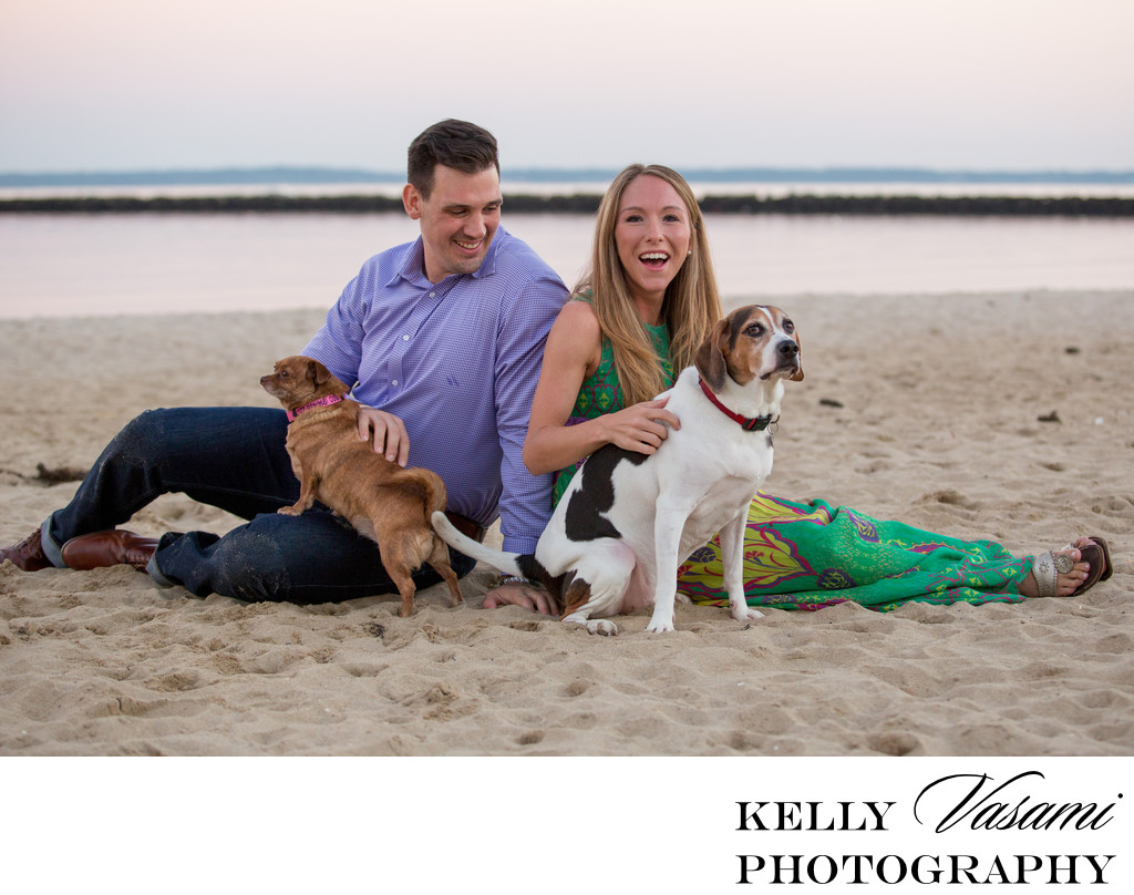 Beach Engagement Session with Dogs | Rye Beach NY